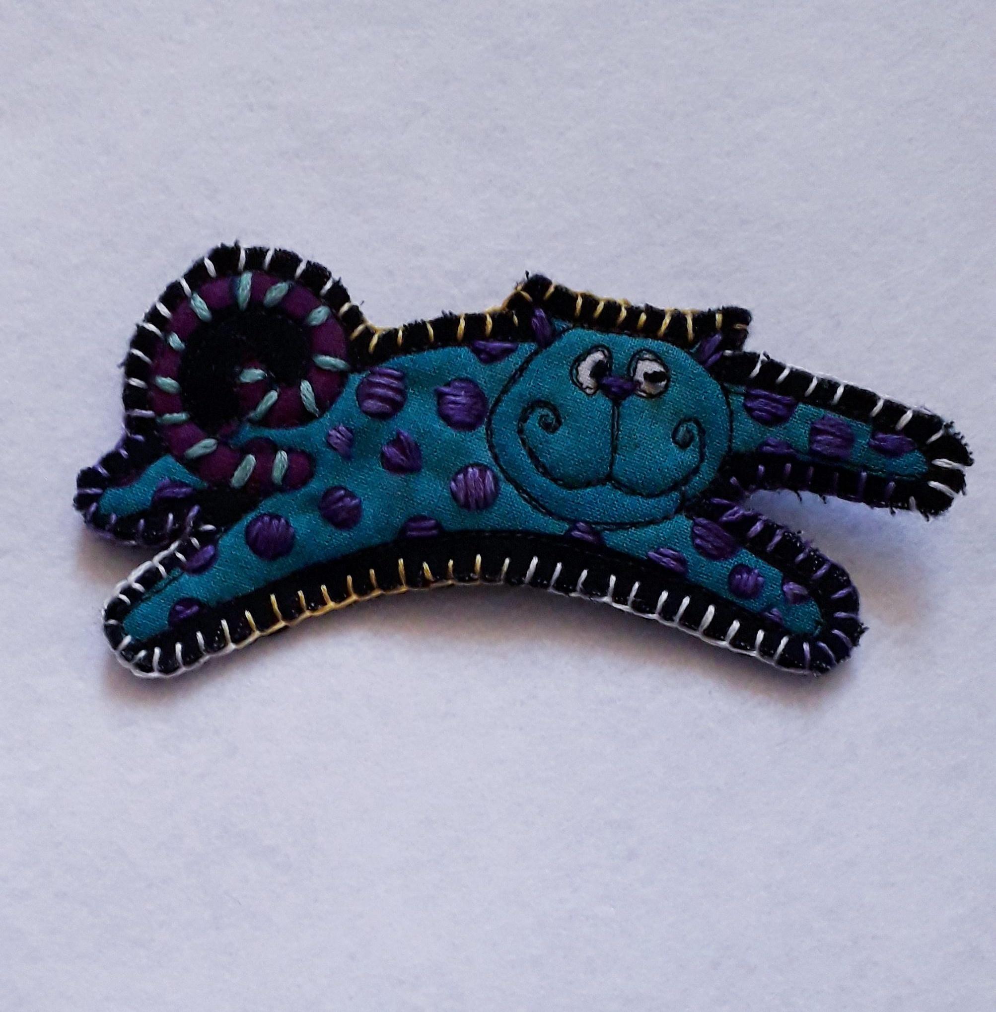 Blue Cat Brooch 1