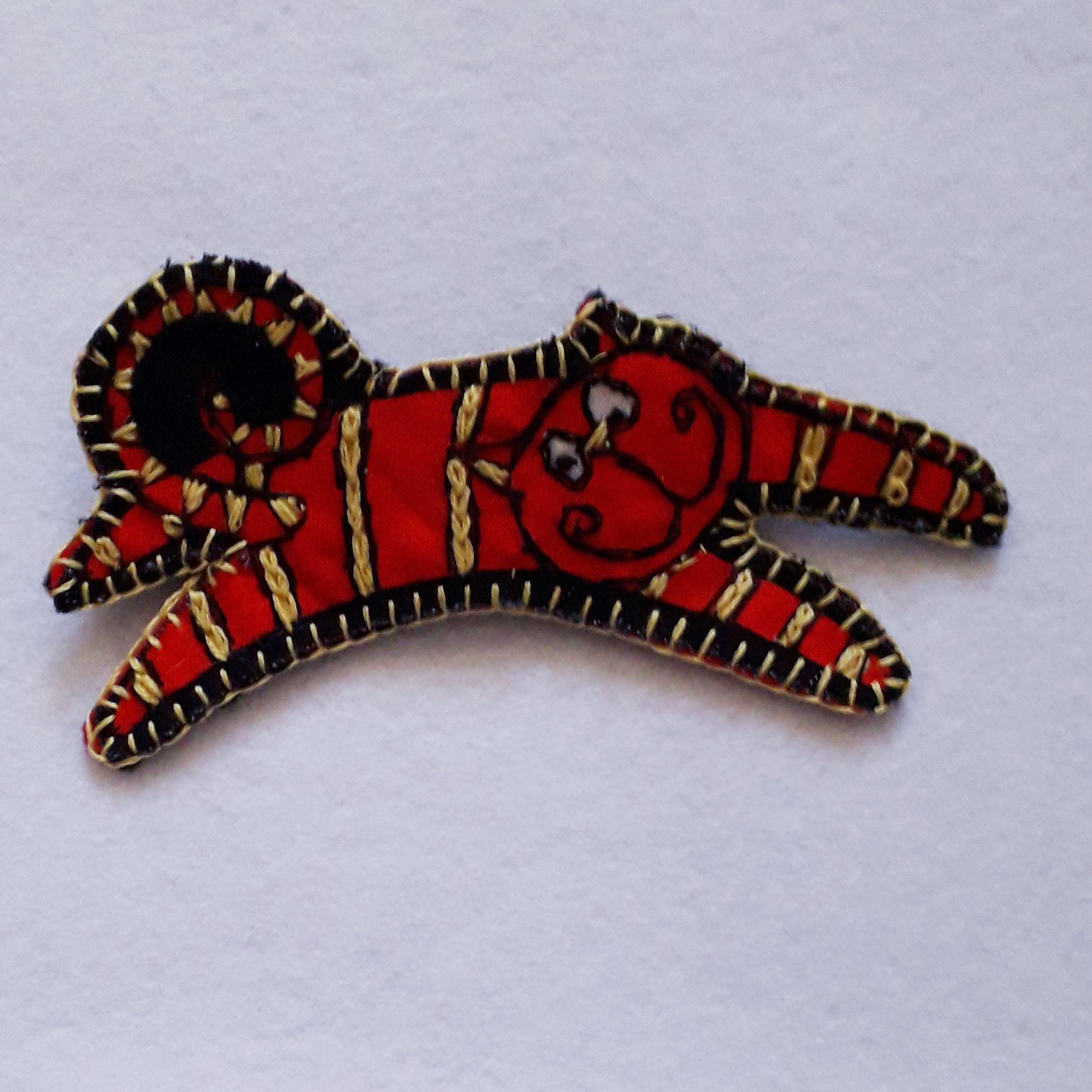 Red Cat Brooch 1